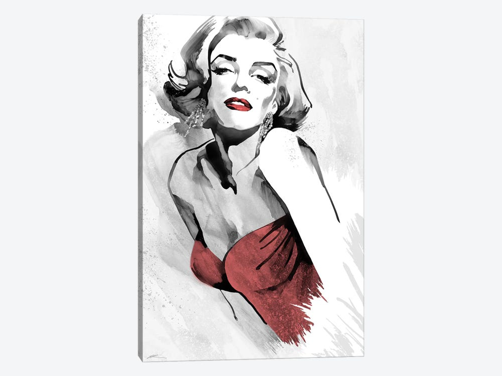 Marilyn's Pose Red Dress by Ellie Rahim 1-piece Canvas Art