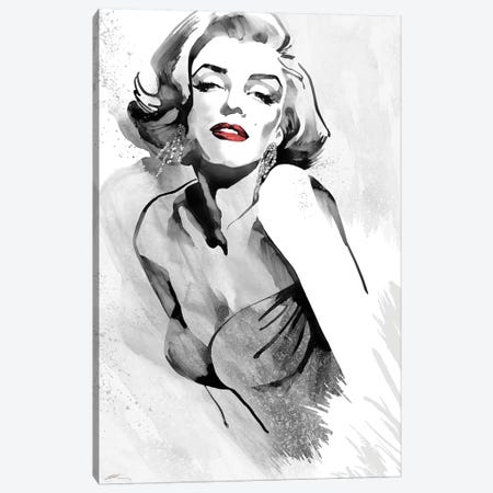 Marilyn's Pose Red Lips Canvas Print #RAH3} by Ellie Rahim Canvas Wall Art