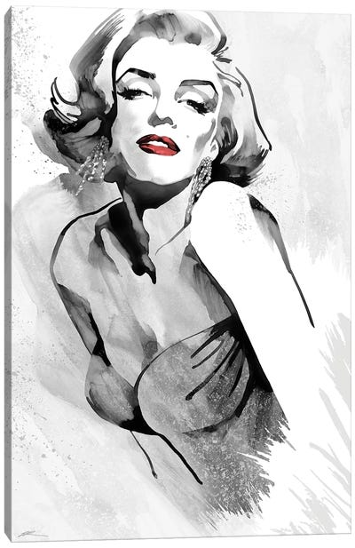 Marilyn's Pose Red Lips Canvas Art Print
