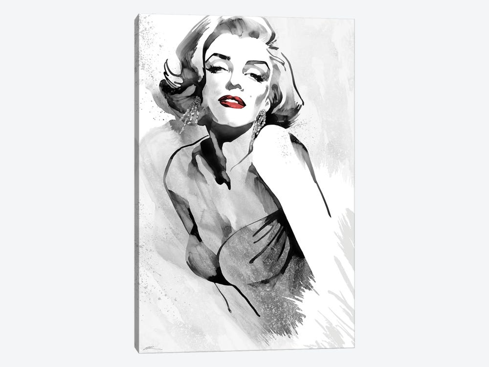 Marilyn's Pose Red Lips by Ellie Rahim 1-piece Canvas Print