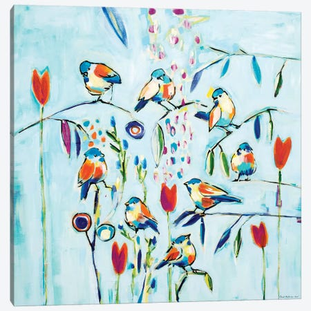 Blue Sky Birds Canvas Print #RAN2} by Randi Antonsen Canvas Wall Art