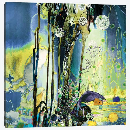 Golden And Blue Canvas Print #RAN59} by Randi Antonsen Art Print