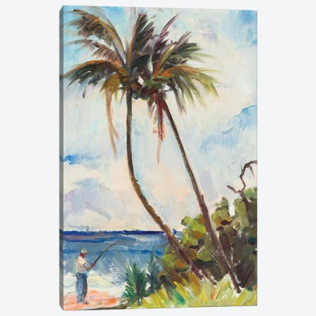 Fishing Under Palms Canvas Print #RAR1} by Richard A. Rodgers Canvas Art Print