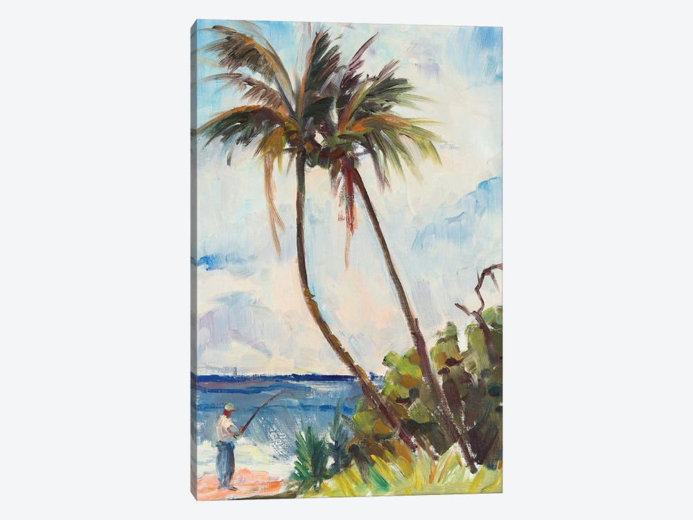 Fishing Under Palms by Richard A. Rodgers 1-piece Canvas Art Print
