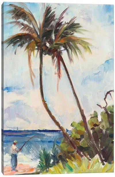 Fishing Under Palms Canvas Art Print