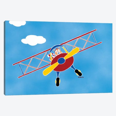 Cat In A Bi-Plane Canvas Print #RAS1} by Shelly Rasche Canvas Artwork