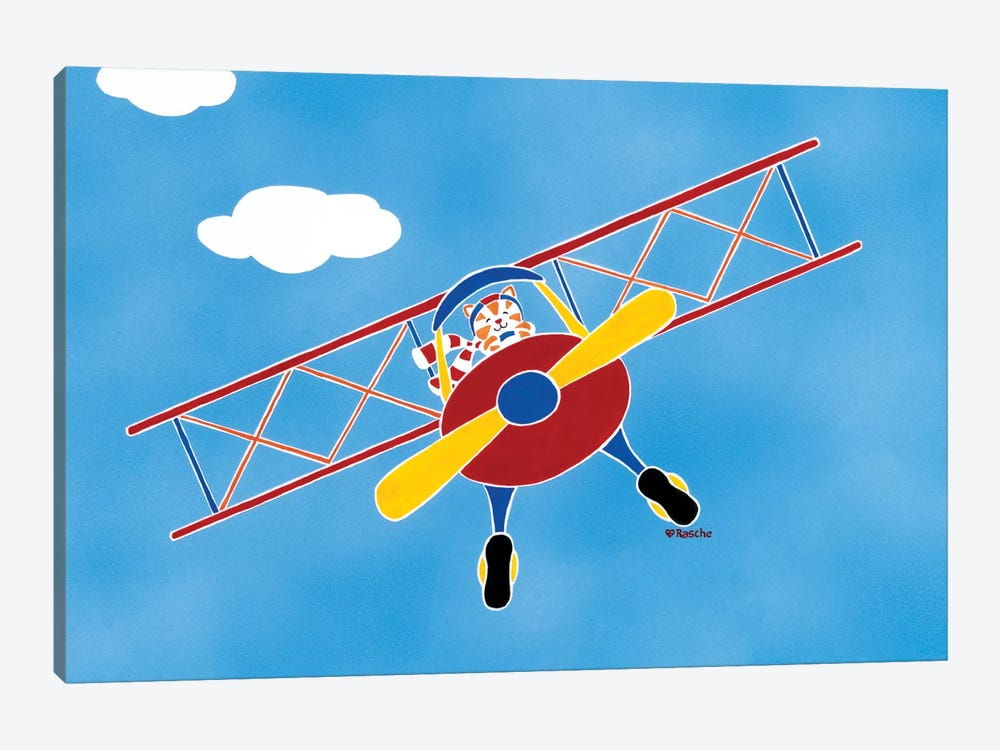 Cat In A Bi-Plane by Shelly Rasche 1-piece Canvas Art
