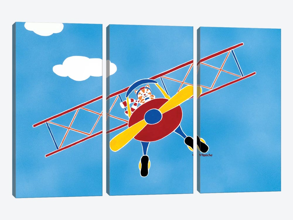 Cat In A Bi-Plane by Shelly Rasche 3-piece Canvas Artwork