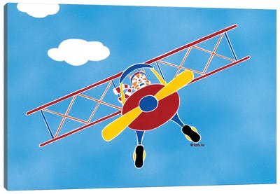 Cat In A Bi-Plane Canvas Art Print