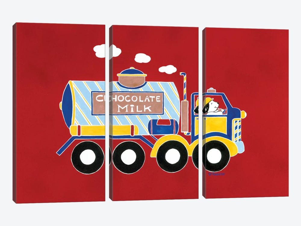 Chocolate Milk Truck by Shelly Rasche 3-piece Canvas Print