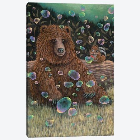 Baby Bear Makes a Friend Canvas Print #RAY3} by Marisa Ray Canvas Artwork