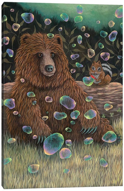 Baby Bear Makes a Friend Canvas Art Print