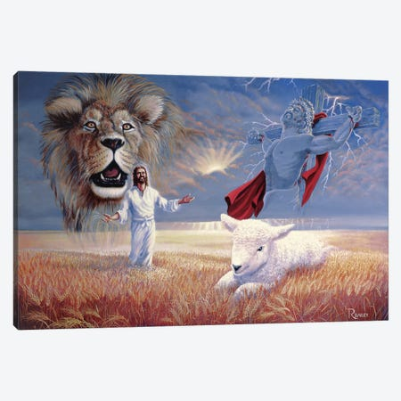 Lion And Lamb Canvas Print #RBL27} by Rod Bailey Art Print