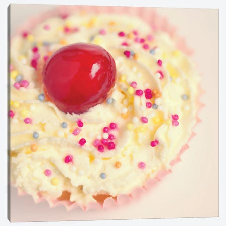 Cherry Cupcake Canvas Print #RBM11} by Ros Berryman Canvas Artwork