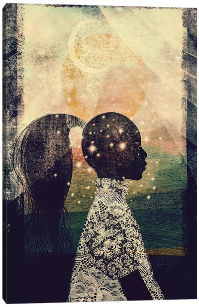 The Sun, Stars and Moon Canvas Art Print