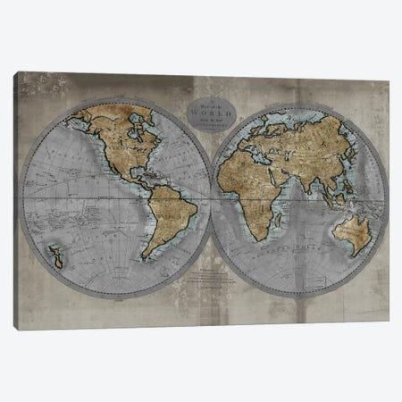 Map Of The World Canvas Print #RBR12} by Russell Brennan Canvas Art Print