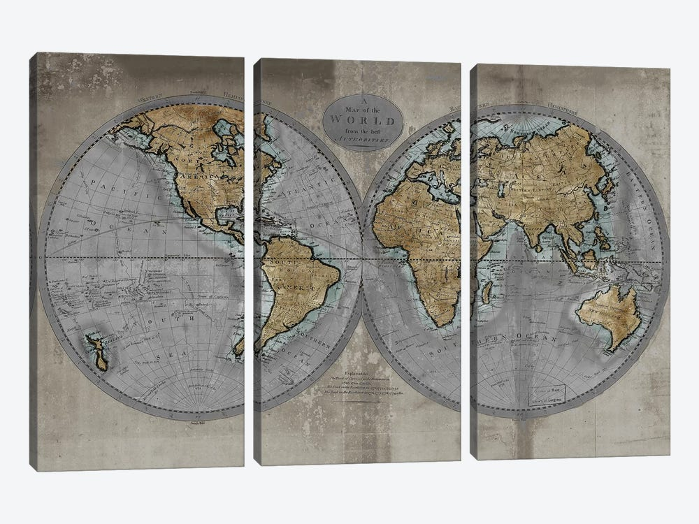 Map Of The World by Russell Brennan 3-piece Canvas Artwork