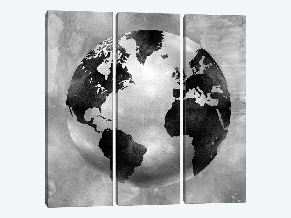 Silver Globe by Russell Brennan 3-piece Canvas Art Print