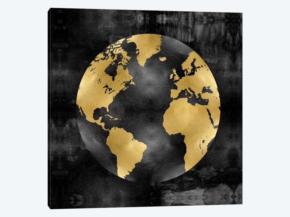 The Globe Gold On Black by Russell Brennan 1-piece Canvas Art