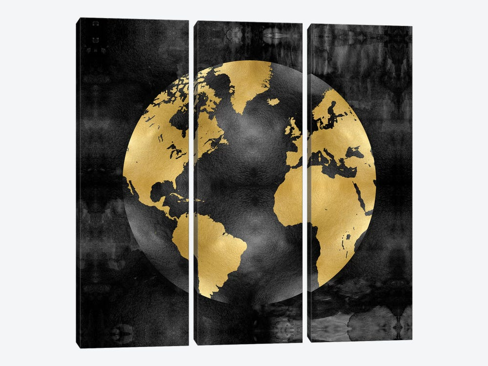 The Globe Gold On Black by Russell Brennan 3-piece Canvas Art