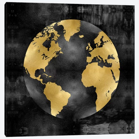 The Globe Gold On Black Canvas Print #RBR16} by Russell Brennan Canvas Wall Art