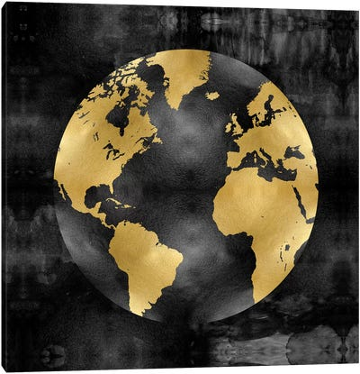 The Globe Gold On Black Canvas Print #RBR16