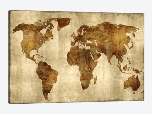 The world bronze on gold canvas wall art by russell brennan the world bronze on gold 1 piece art print gumiabroncs Gallery