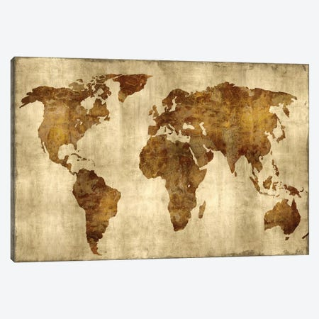 The World - Bronze On Gold Canvas Print #RBR17} by Russell Brennan Canvas Artwork