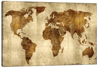 The World - Bronze On Gold Canvas Art Print