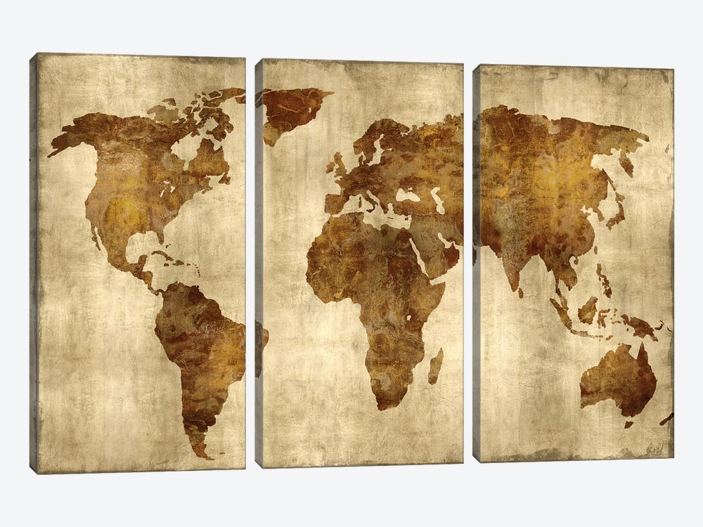 The World - Bronze On Gold by Russell Brennan 3-piece Canvas Art Print