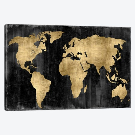 The World - Gold On Black Canvas Print #RBR18} by Russell Brennan Canvas Art Print