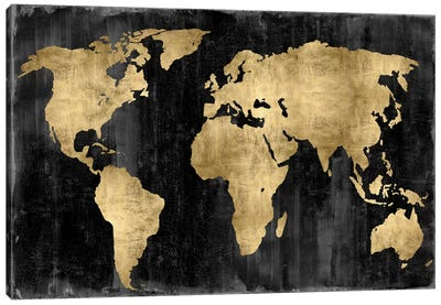 The World - Gold On Black Canvas Print #RBR18