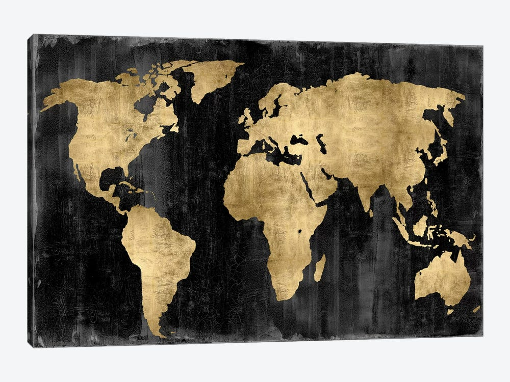 The World - Gold On Black by Russell Brennan 1-piece Canvas Wall Art