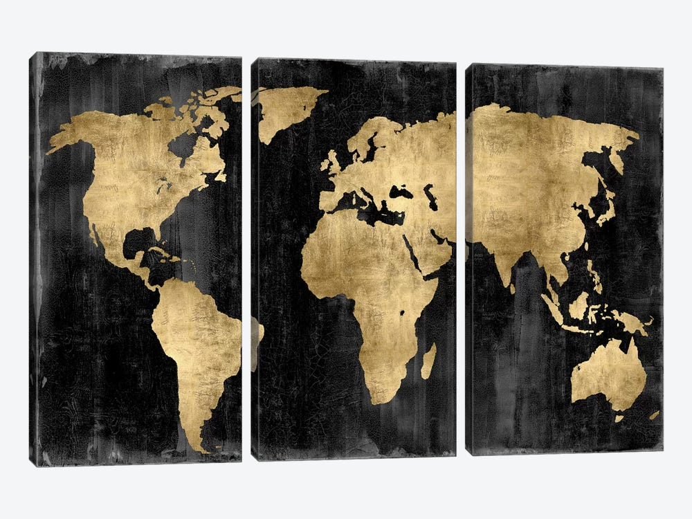 The World - Gold On Black by Russell Brennan 3-piece Canvas Wall Art