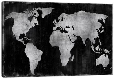 The World - Silver On Black Canvas Art Print