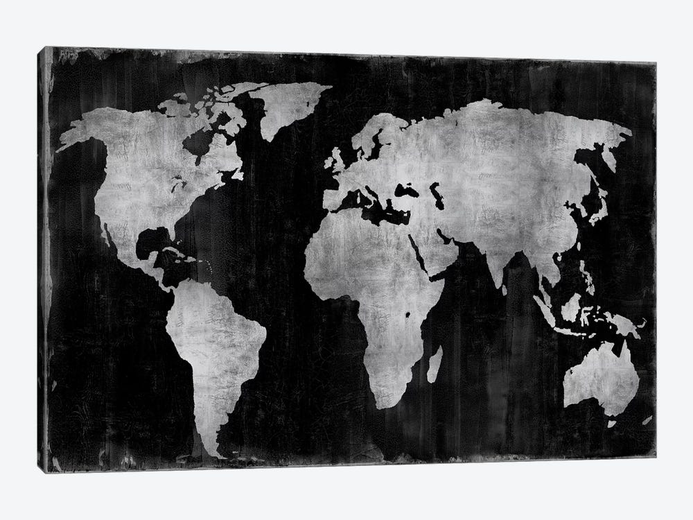 The World - Silver On Black by Russell Brennan 1-piece Art Print