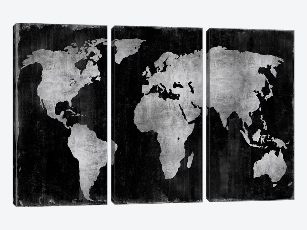 The World - Silver On Black by Russell Brennan 3-piece Canvas Art Print