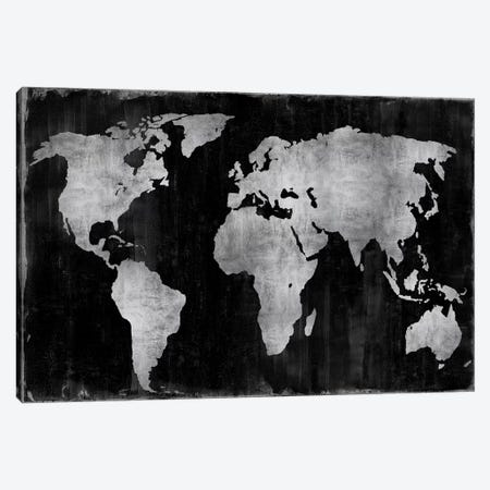The World - Silver On Black Canvas Print #RBR19} by Russell Brennan Canvas Art Print