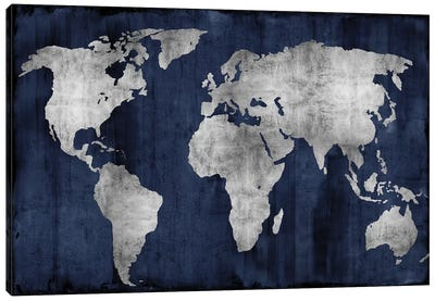 The World - Silver On Blue Canvas Print #RBR20
