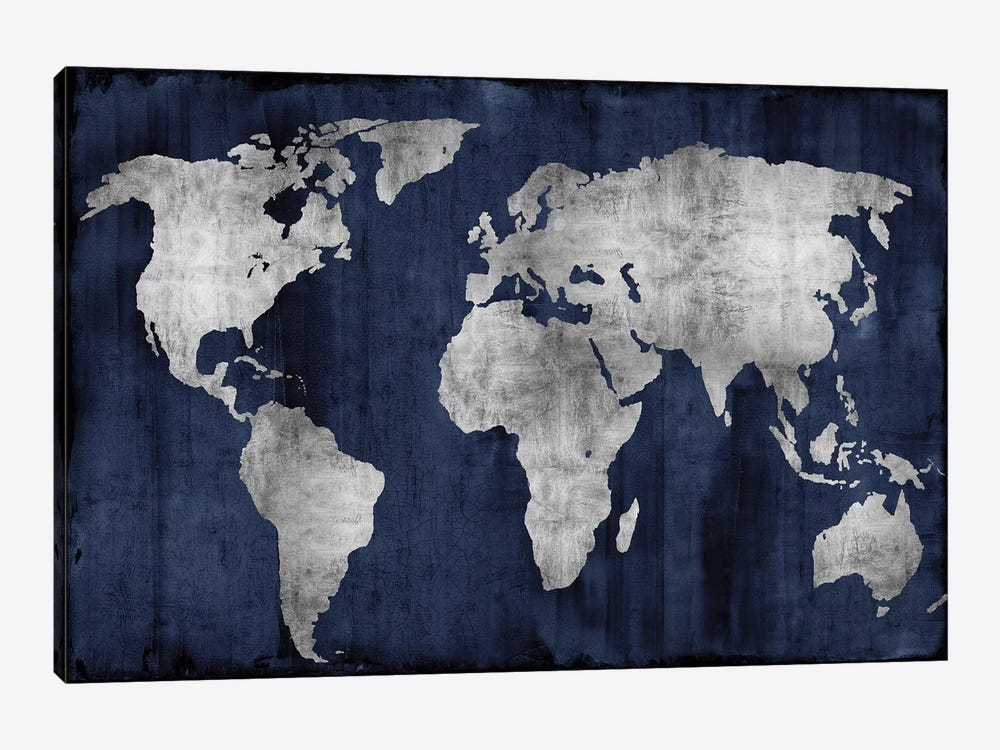 The World - Silver On Blue by Russell Brennan 1-piece Canvas Art Print
