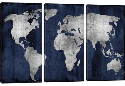 The World - Silver On Blue Canvas Art Print