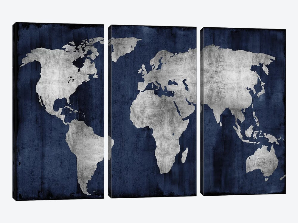 The World - Silver On Blue by Russell Brennan 3-piece Art Print
