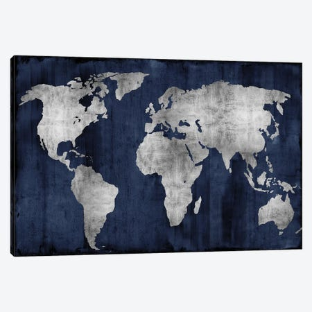 The World - Silver On Blue Canvas Print #RBR20} by Russell Brennan Canvas Wall Art