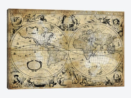 Antique world map canvas art by russell brennan icanvas antique world map 1 piece art print gumiabroncs Gallery