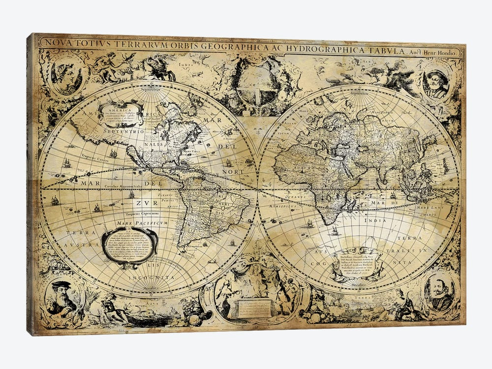 Antique World Map by Russell Brennan 1-piece Art Print