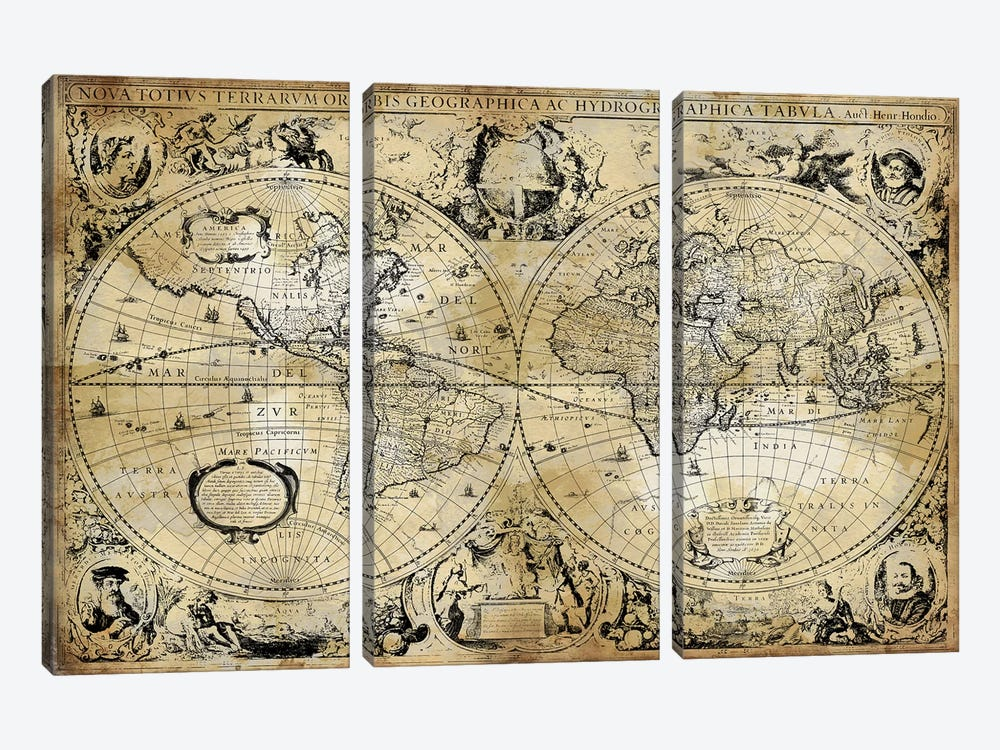 Antique World Map by Russell Brennan 3-piece Canvas Art Print