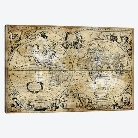 Antique World Map Canvas Print #RBR35} by Russell Brennan Canvas Art