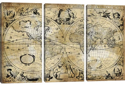 Antique World Map Canvas Art Print