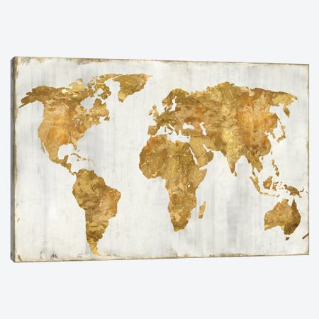 The World In Gold Canvas Print #RBR39} by Russell Brennan Canvas Print