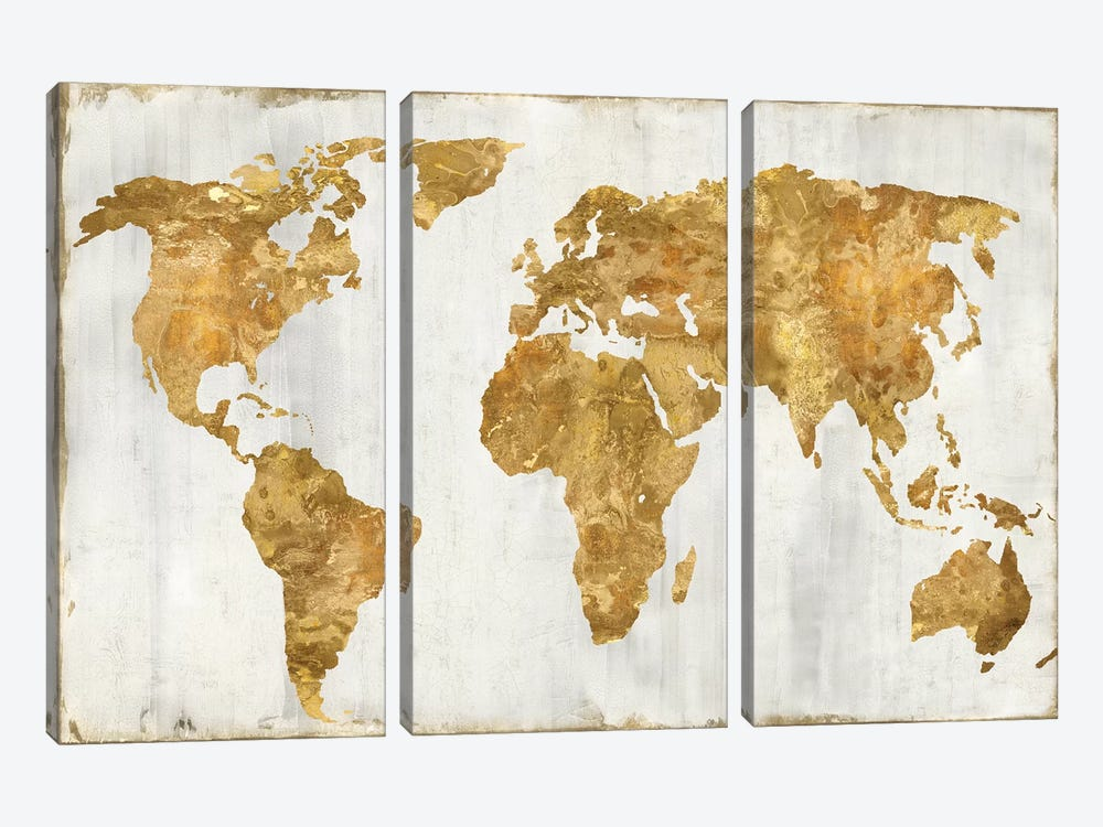 The World In Gold by Russell Brennan 3-piece Canvas Print